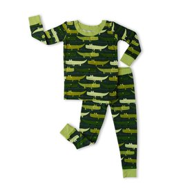 Little Sleepies Two Piece Pajama Set Green Crocodiles