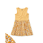 Tea Collection Print Mix Skirted Dress - Tangy