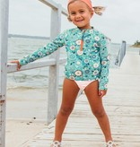 RuffleButts Island Dream Long Sleeve Zipper Rash Guard Bikini
