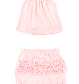 RuffleButts Pink Flutter Square Neck  Top + Bubble Shorts