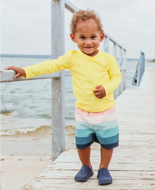 RuggedButts Island Stripe Swim Trunks + Lemon Rash Guard Set