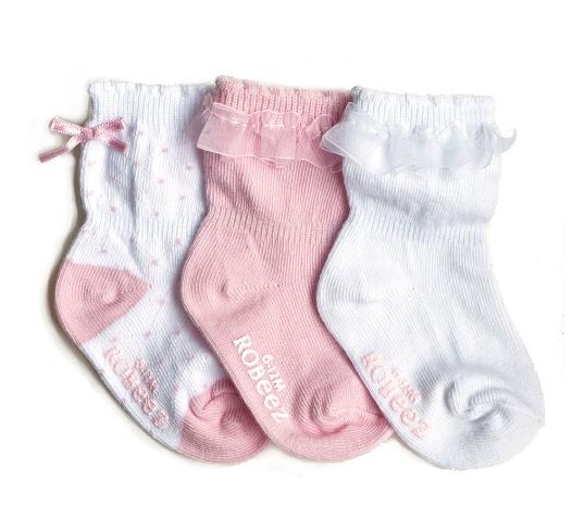 Robeez 3 Pk Socks, Baby Girl Ruffle Pastel Pink