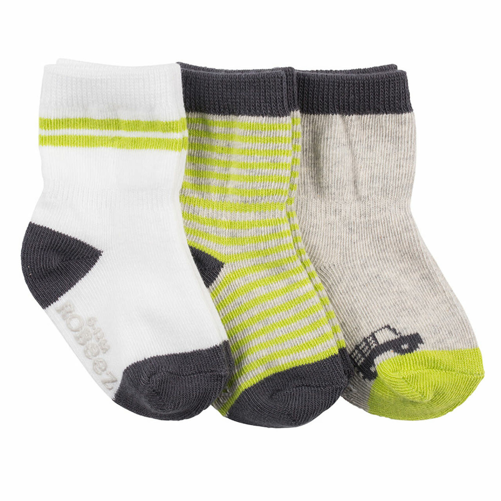 Robeez 3 Pk Socks, Farmer Bob wh/gr/grey