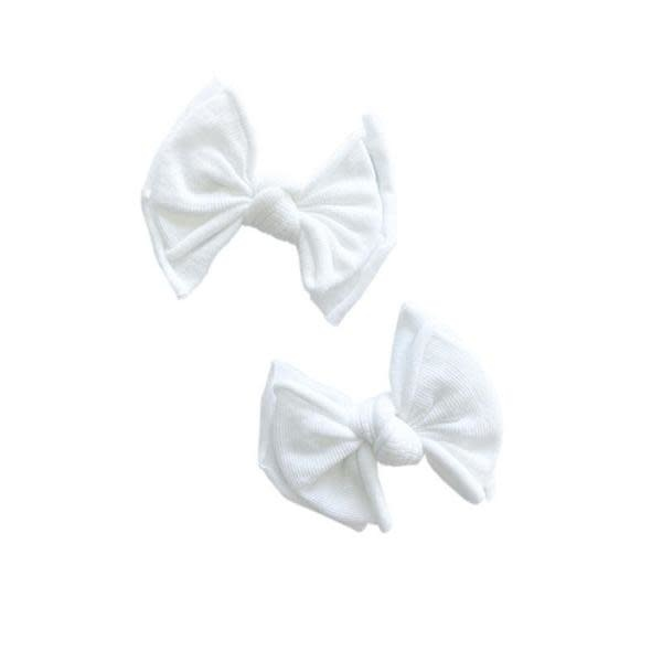Baby Bling Bows 2pk Baby Fab Clip: White