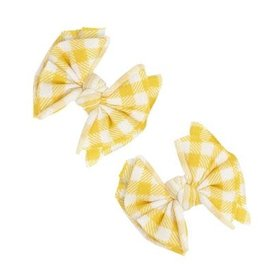 Baby Bling Bows 2pk Printed Baby Fab Clips: Mustard Gingham