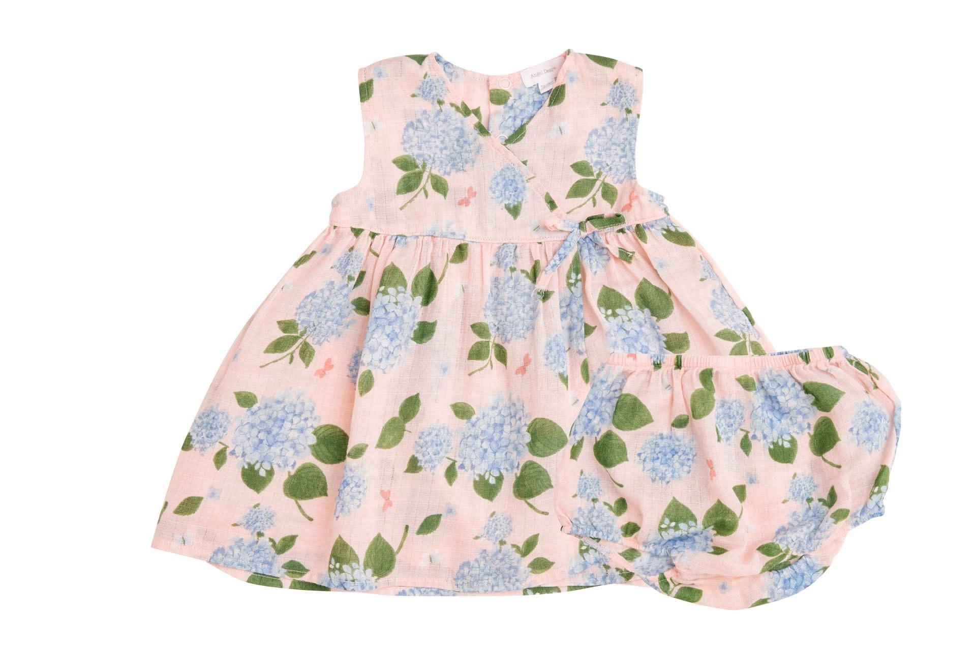 Angel Dear Hydrangea Kimono Dress and Diaper Cover Pink