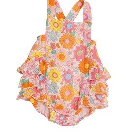 Angel Dear Retro Daisy Ruffle Sunsuit Petal Pink