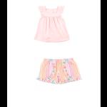 RuffleButts Pink Flutter Square Neck Top + Dreamsicle Stripe Ruffle Short Set