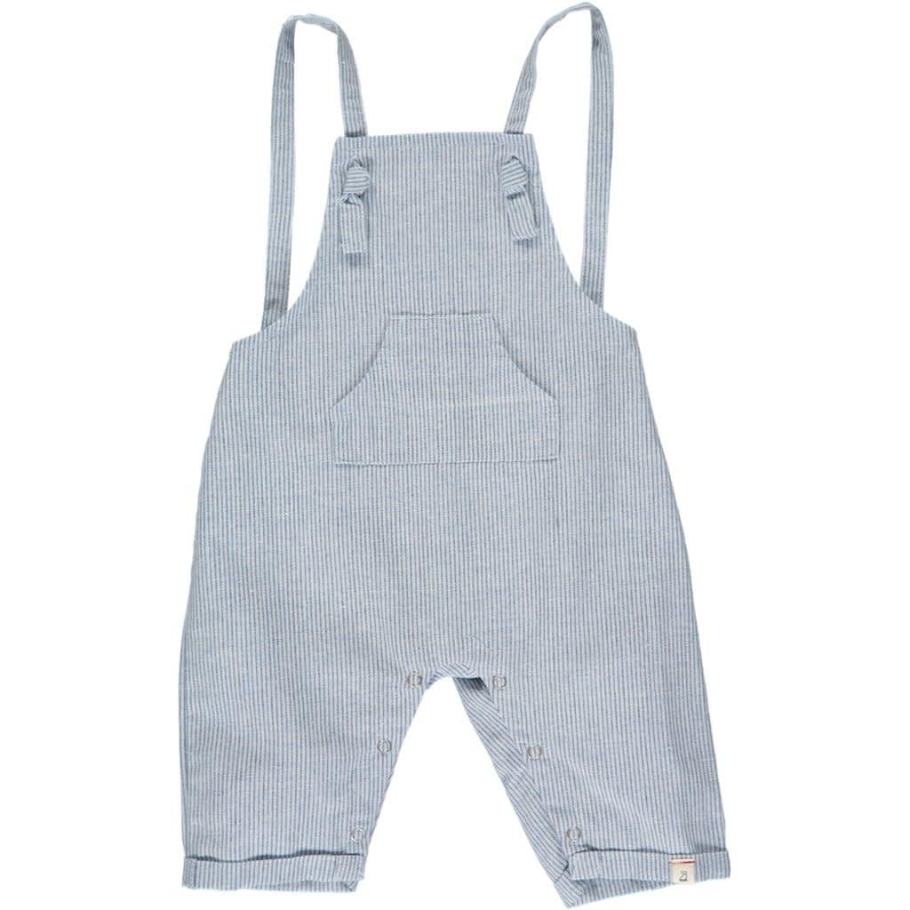 Me + Henry Ahoy shortie  blue stripe overalls 3-6M