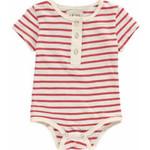 Me + Henry Red Stripe Short Sleeve Henley Bodysuit 0-3M