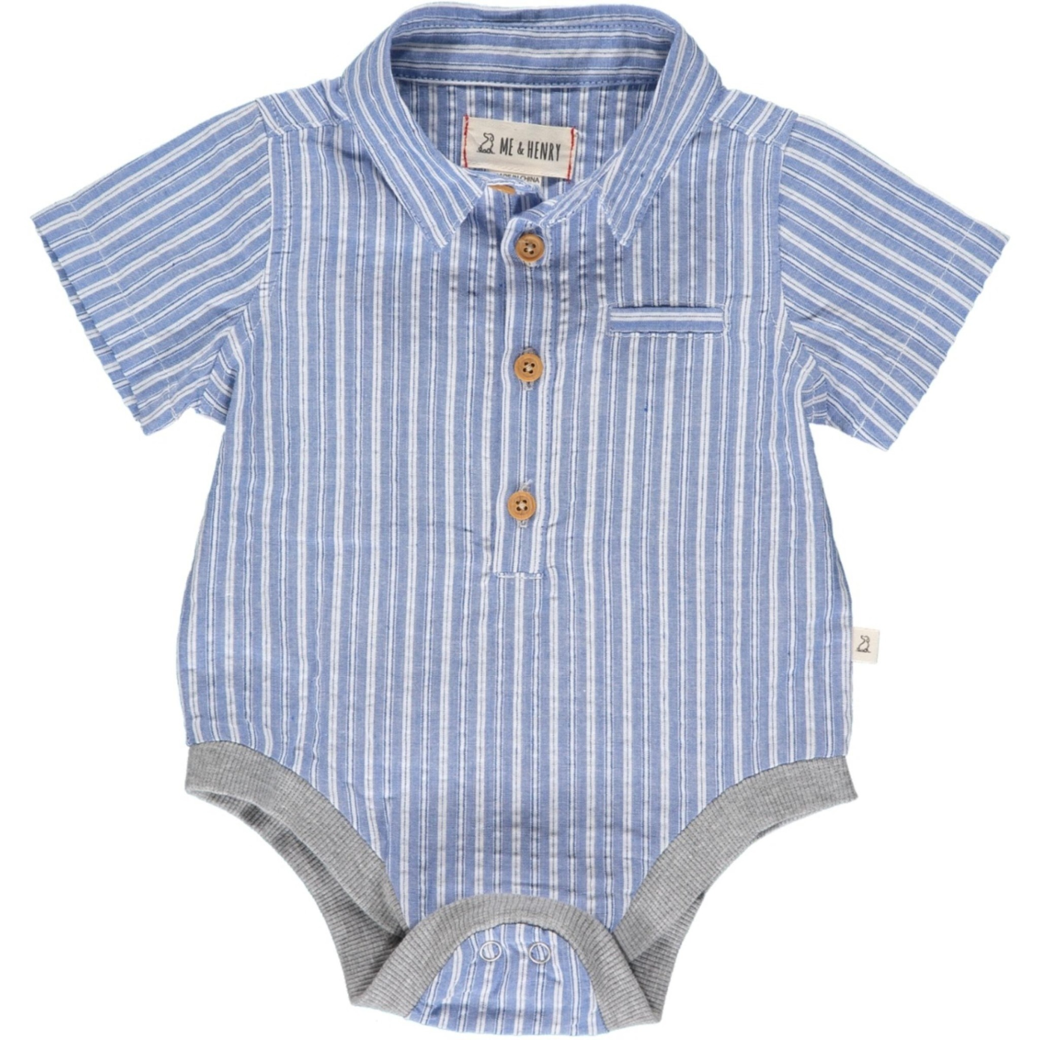 Me + Henry Helford Short Sleeved Onesie, Blue/White Stripe