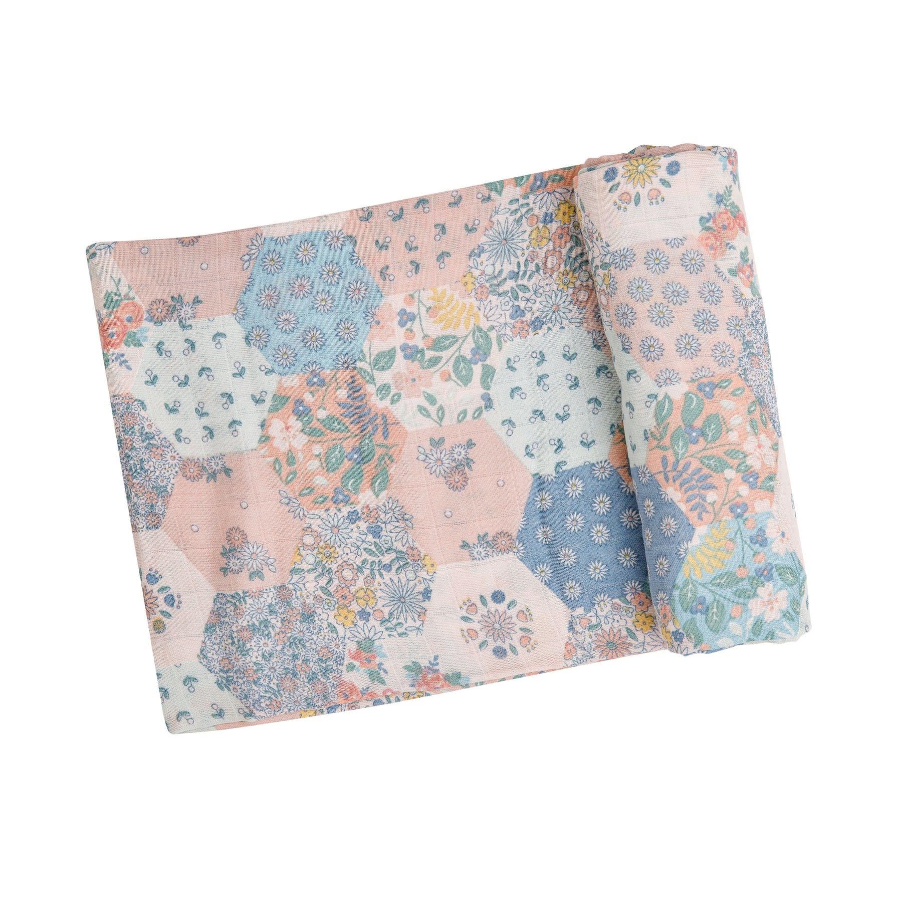 Angel Dear Vintage Patchwork Swaddle Blanket 47x47