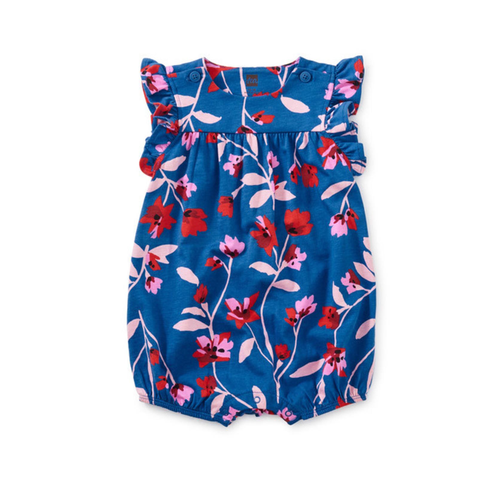 Tea Collection Flutter Button Baby Romper - Floral Breeze