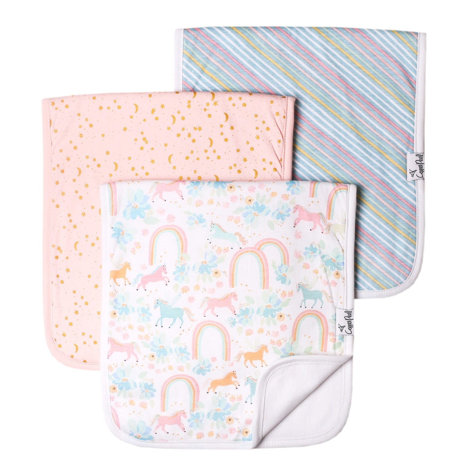 Copper Pearl Burp Cloths (3 pack) - Whimsy New