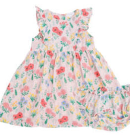 Angel Dear Summer Floral Dress and Diaper Cover Pink 12-18M