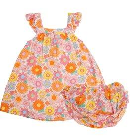 Angel Dear Retro Daisy Sundress/Diaper Cover Petal Pink
