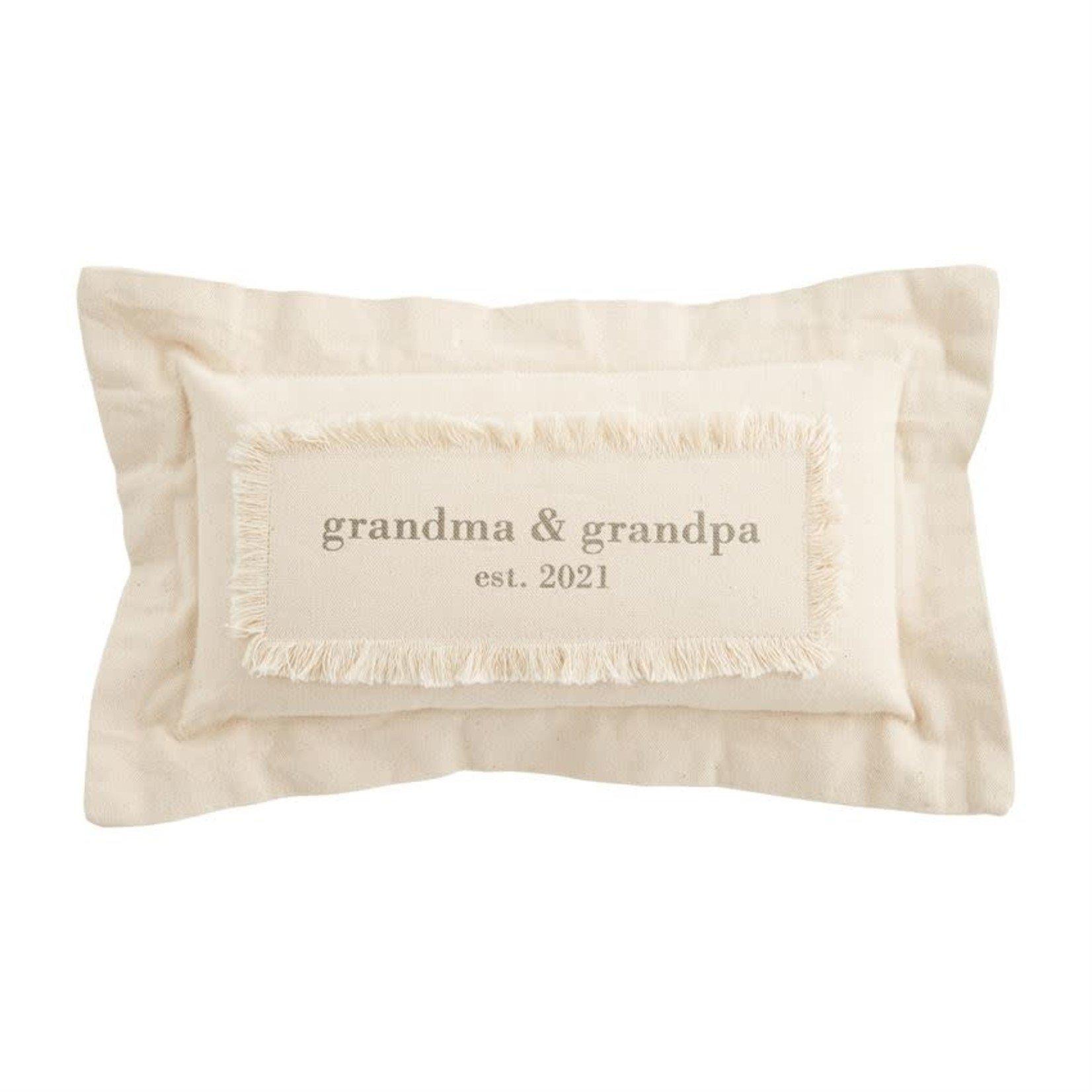 Mud Pie Grandma Grandpa Est. 2021 Canvas Pillow