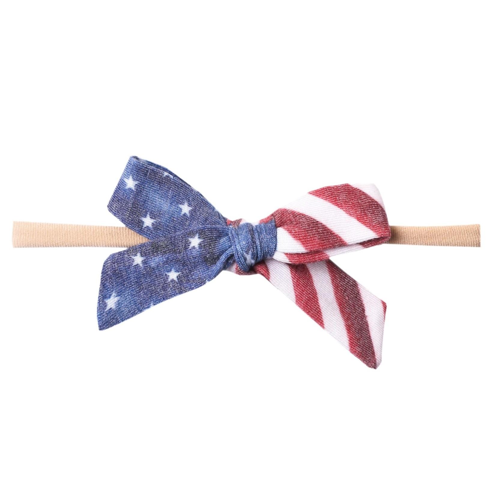 Copper Pearl Ribbon Nylon Bow - Patriot