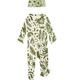 Loved Baby Organic Zipper Footie, Print in Get Clover It! (Beige) 3-6M + Hat
