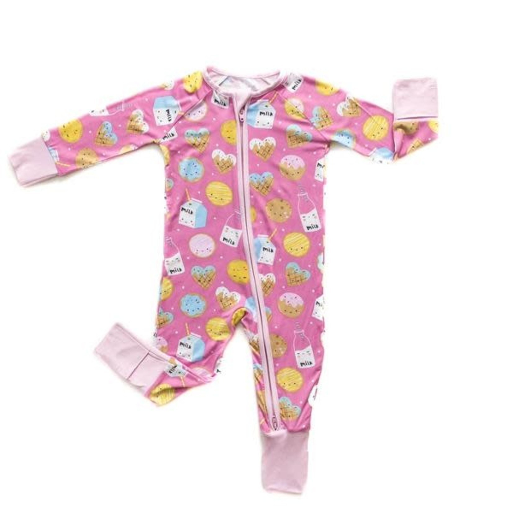 Little Sleepies Convertible Romper/Sleeper Cookies & Milk Pink