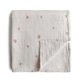 Mushie & Co Muslin Swaddle Blanket Organic Cotton (Rainbows)