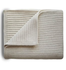 Mushie & Co Knitted Ribbed Baby Blanket (Beige Melange)