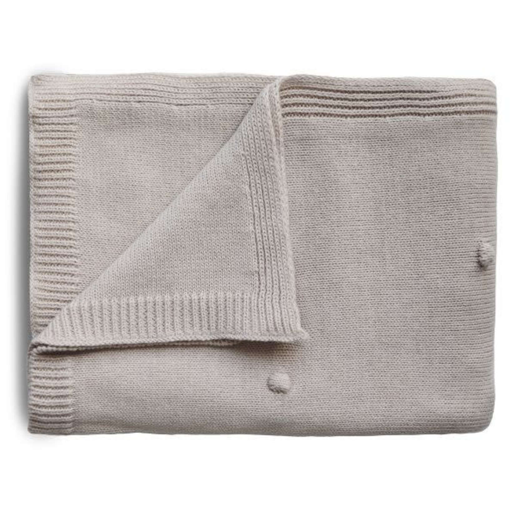 Mushie & Co Knitted Textured Dots Baby Blanket (Off White Melange)