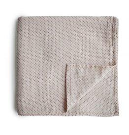 Mushie & Co Muslin Swaddle Blanket Organic Cotton (Caramel Polka Dots)