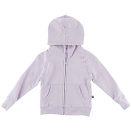 Kickee Pants Solid Fleece Zip Front Hoodie with Lined Hood Thistle with Thistle Chamomile 4T