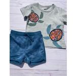 Tea Collection Sea Turtle Graphic Tee + Tye Dye Steel Blue Shorts 9-12M
