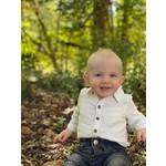 Me + Henry Woven Baby Onesie - Jasper White Waffle