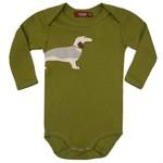 Milkbarn Kids Long Sleeve Organic Applique Bodysuit Green Dog