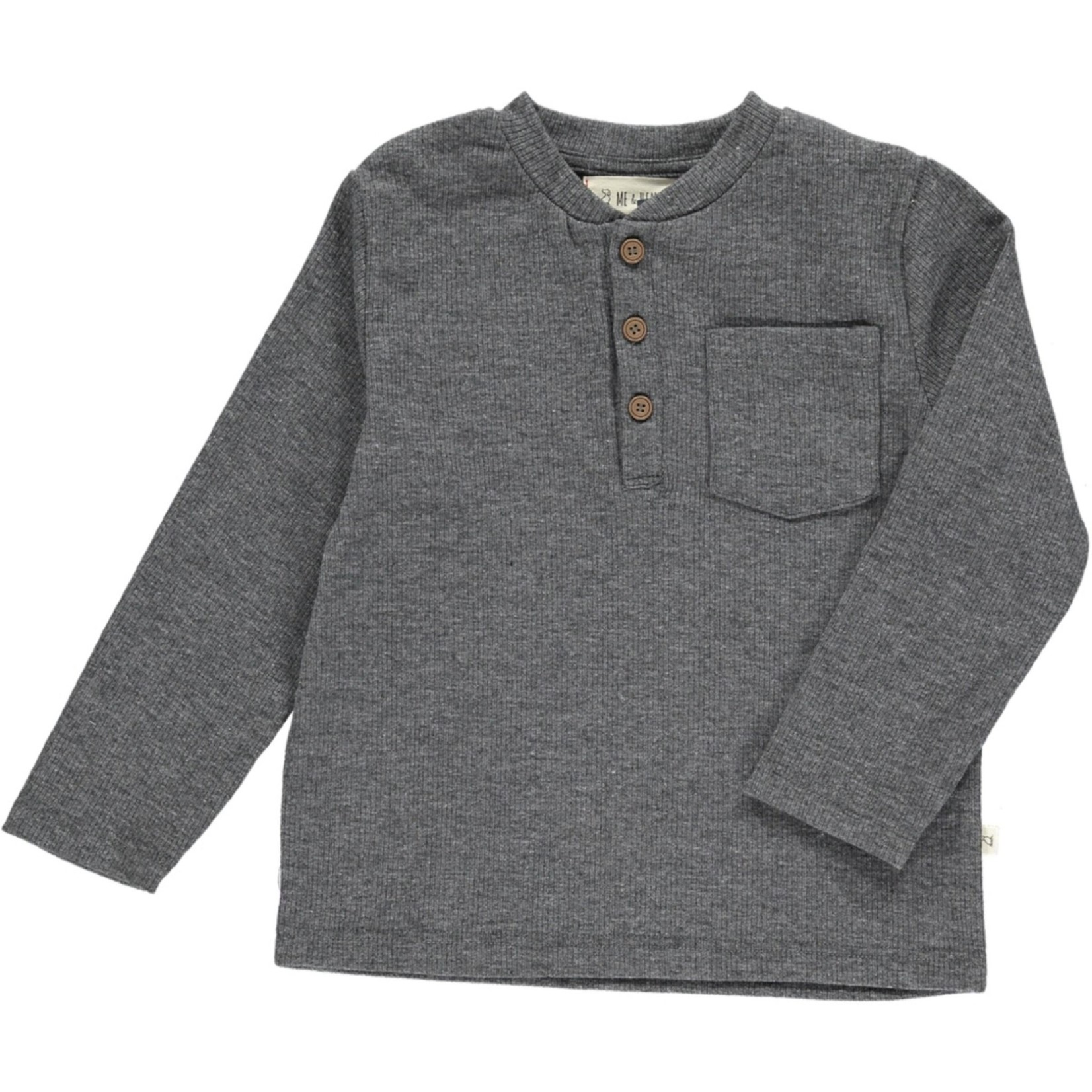 Me + Henry Benji Baby Ribbed Henley - Charcoal