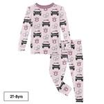 Kickee Pants Print Long Sleeve Pajama Set Macaroon Law Enforcement 6Y
