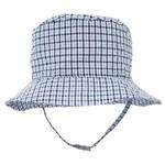 Huggalugs Blue Plaid Seesucker UPF 25+ Bucket Hat 2-4y