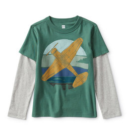 Tea Collection Plane Layered Sleeve Graphic Tee - Botany Green