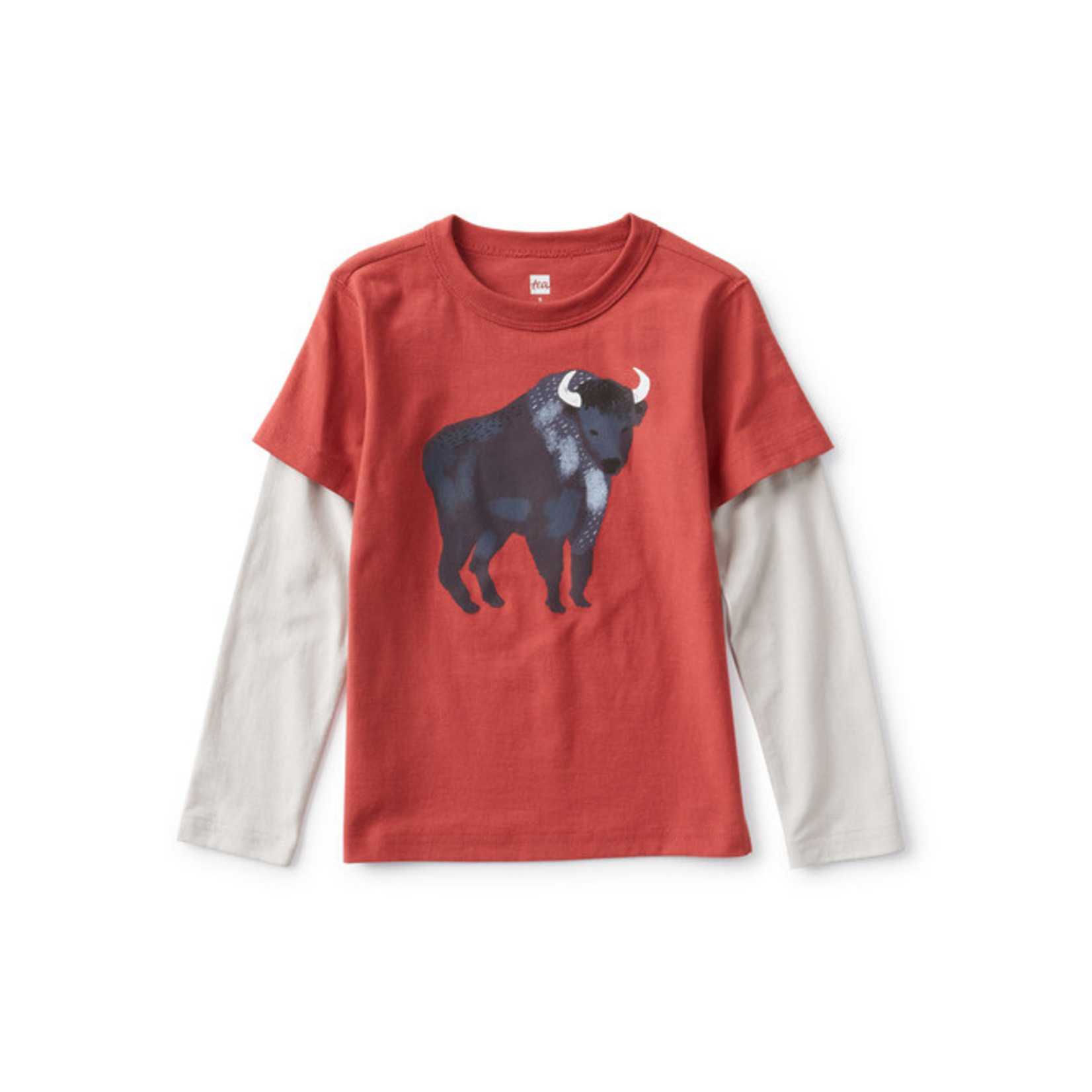 Tea Collection Bison Layered Sleeve Graphic Tee - Earth Red