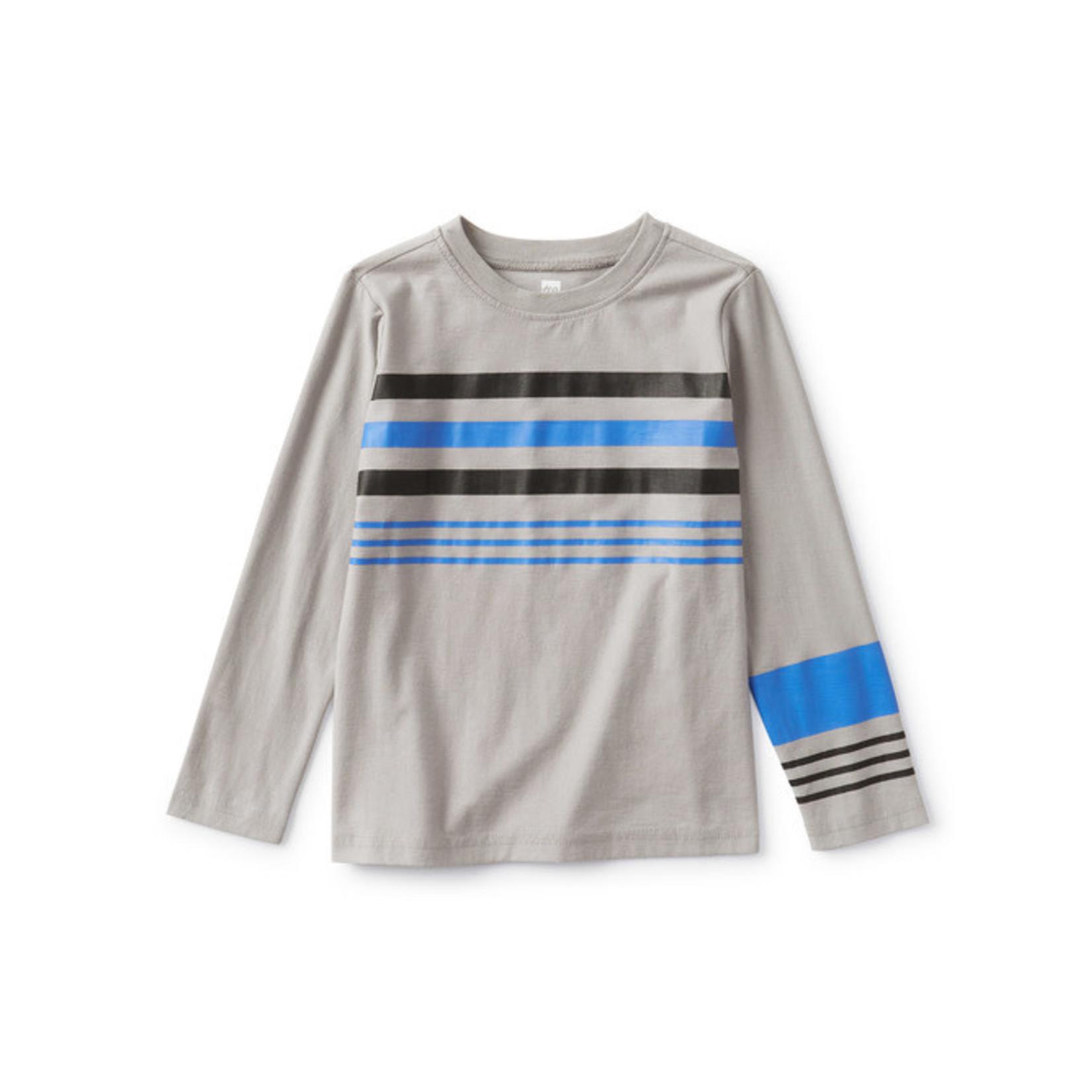 Tea Collection Asymmetrical Stripe Tee - Storm Grey