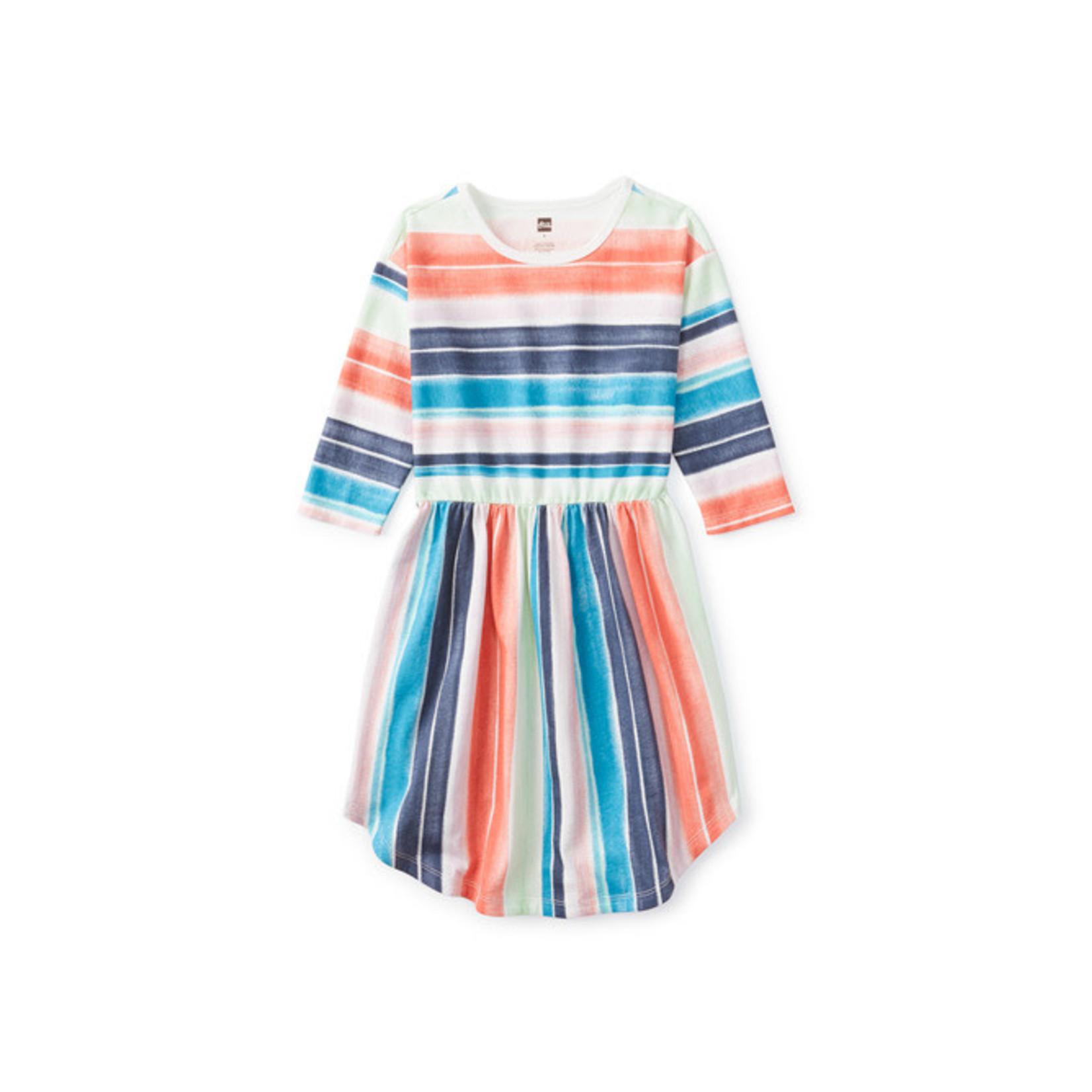 Tea Collection Everyday Hi-Lo Midi Dress - Watercolor Stripe