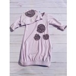 Kickee Pants Dahlia Flower Layette Gown & Flower Hat Set Thistle with Quail NB