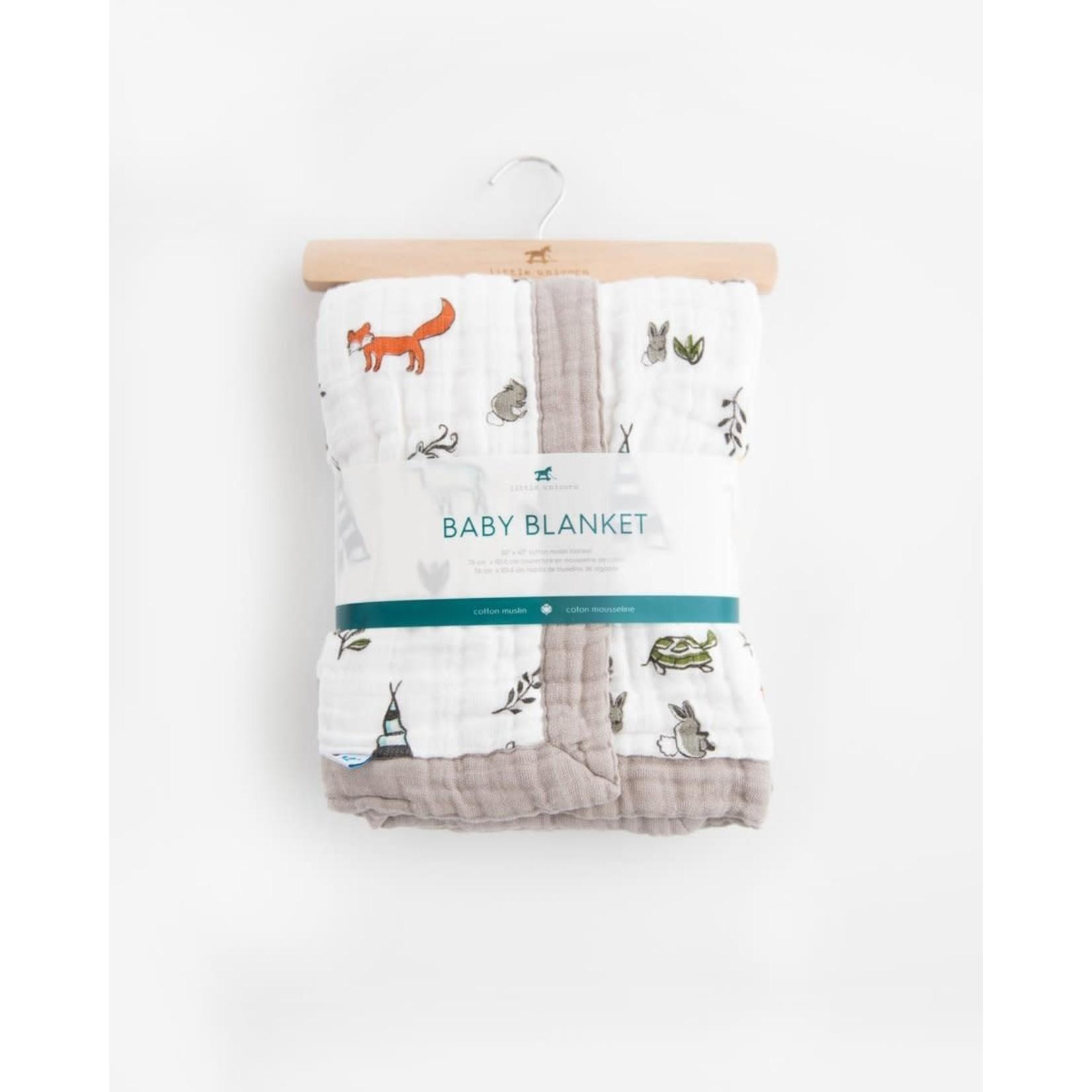 Little Unicorn Cotton Muslin Baby Blanket - Forest Friends