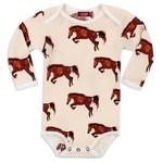 Milkbarn Kids Long Sleeve  Organic Print Bodysuit Natural Horse