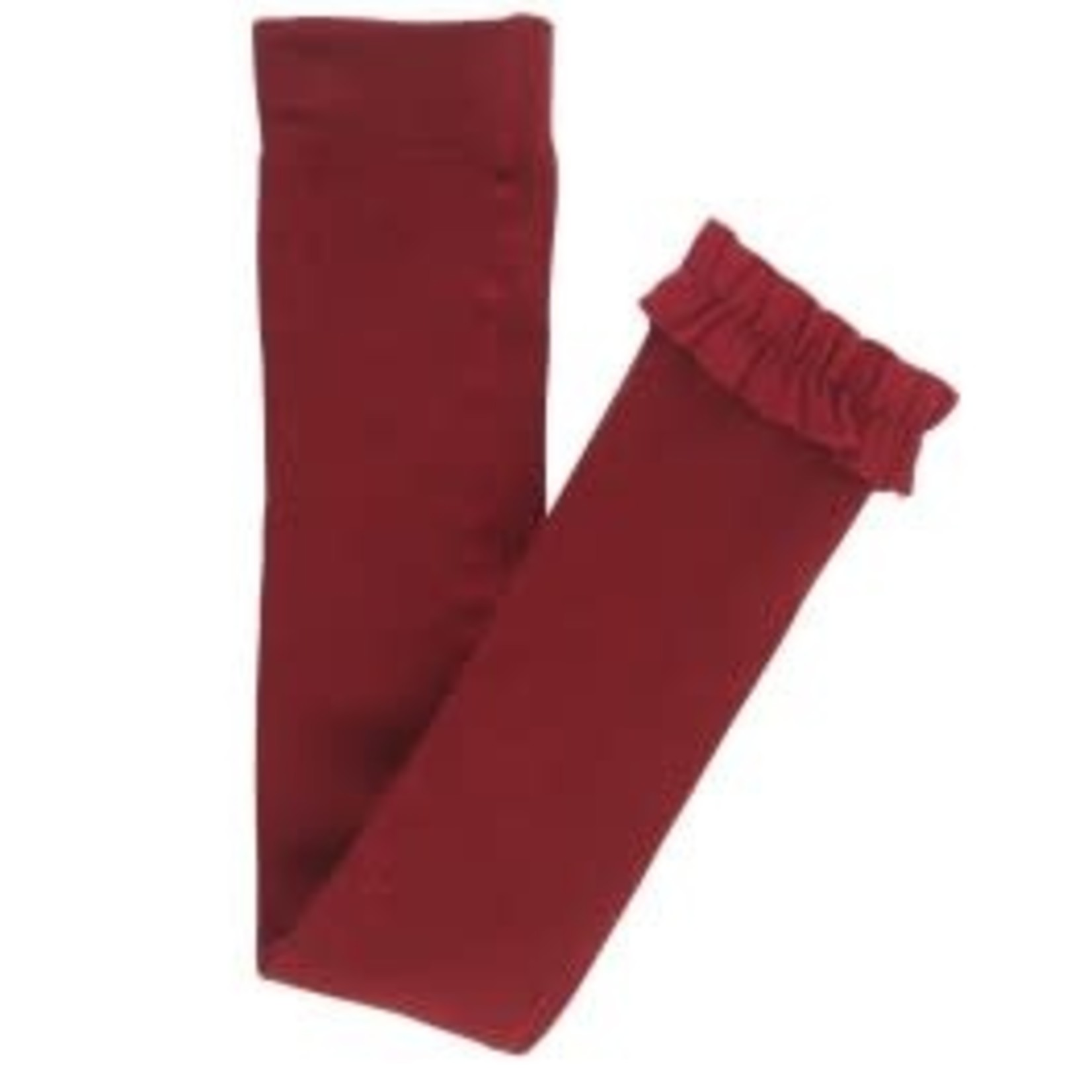 RuffleButts Footless Ruffle Tights, Cranberry 2T-4T
