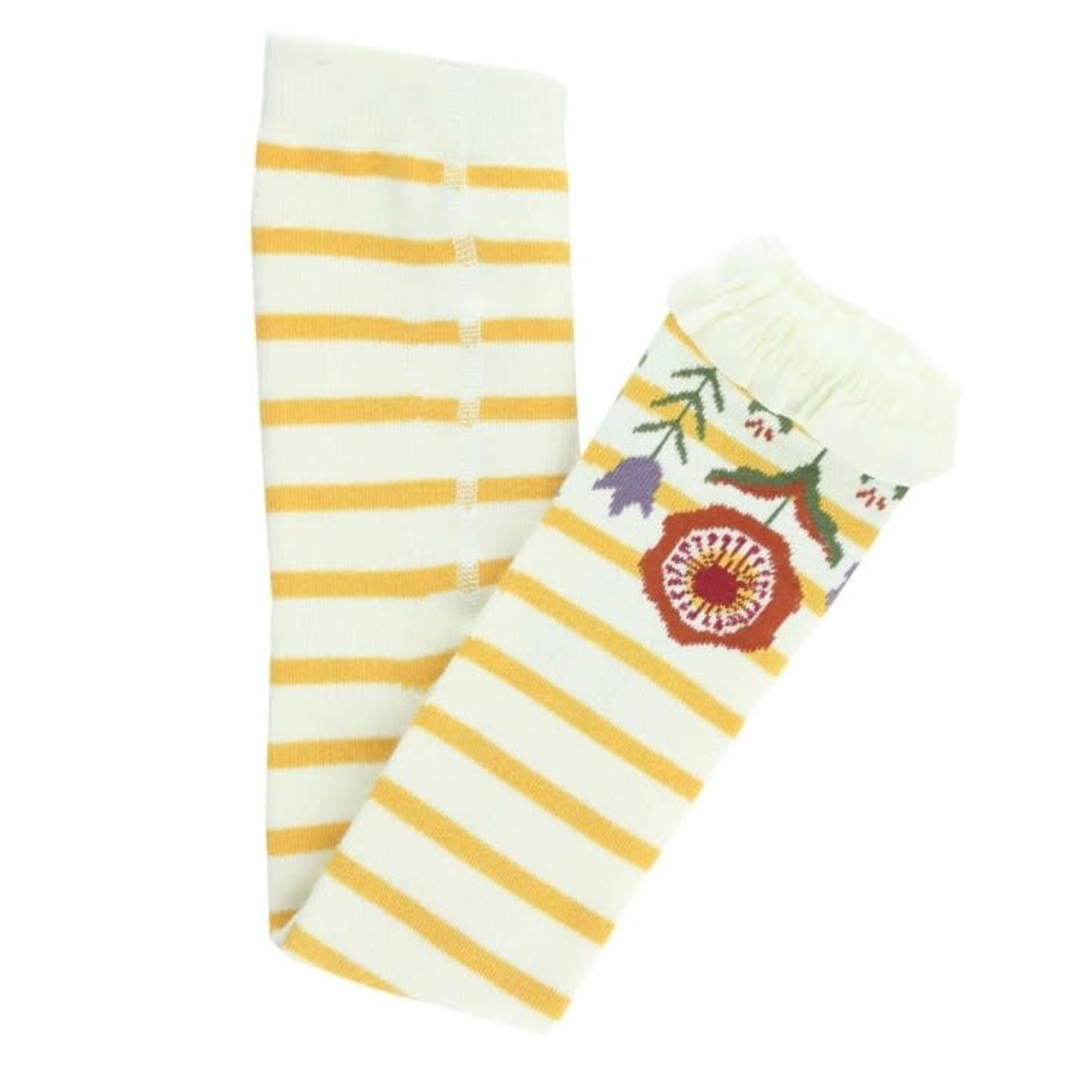 RuffleButts Footless Ruffle Tights, Golden Yellow & Ivory Stripe 6-12M