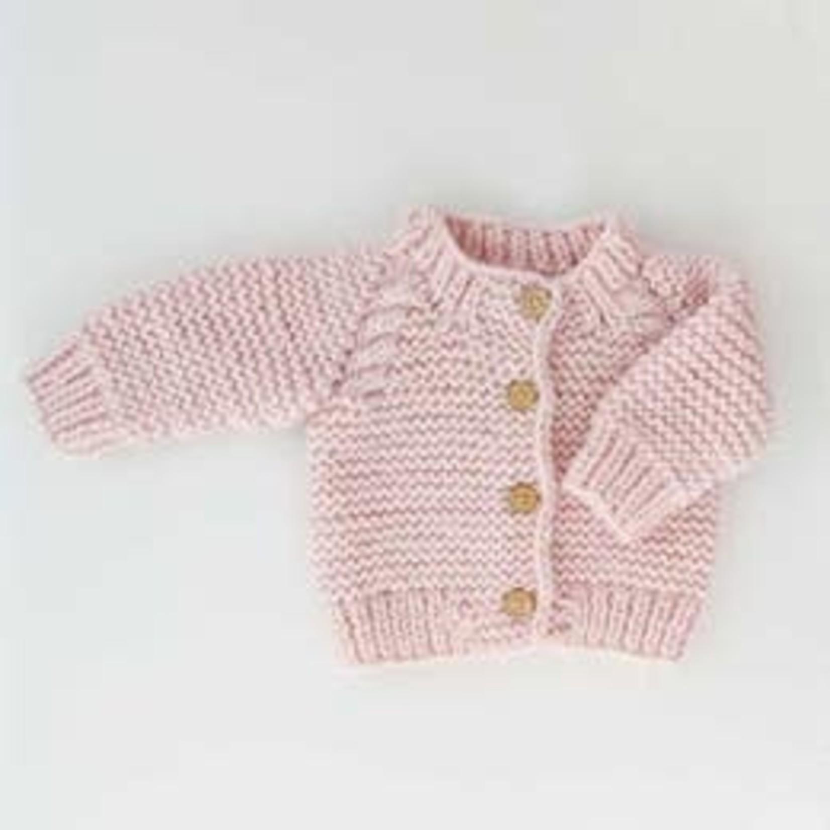 Huggalugs Blush Pink Garter Stitch Cardigan Sweater