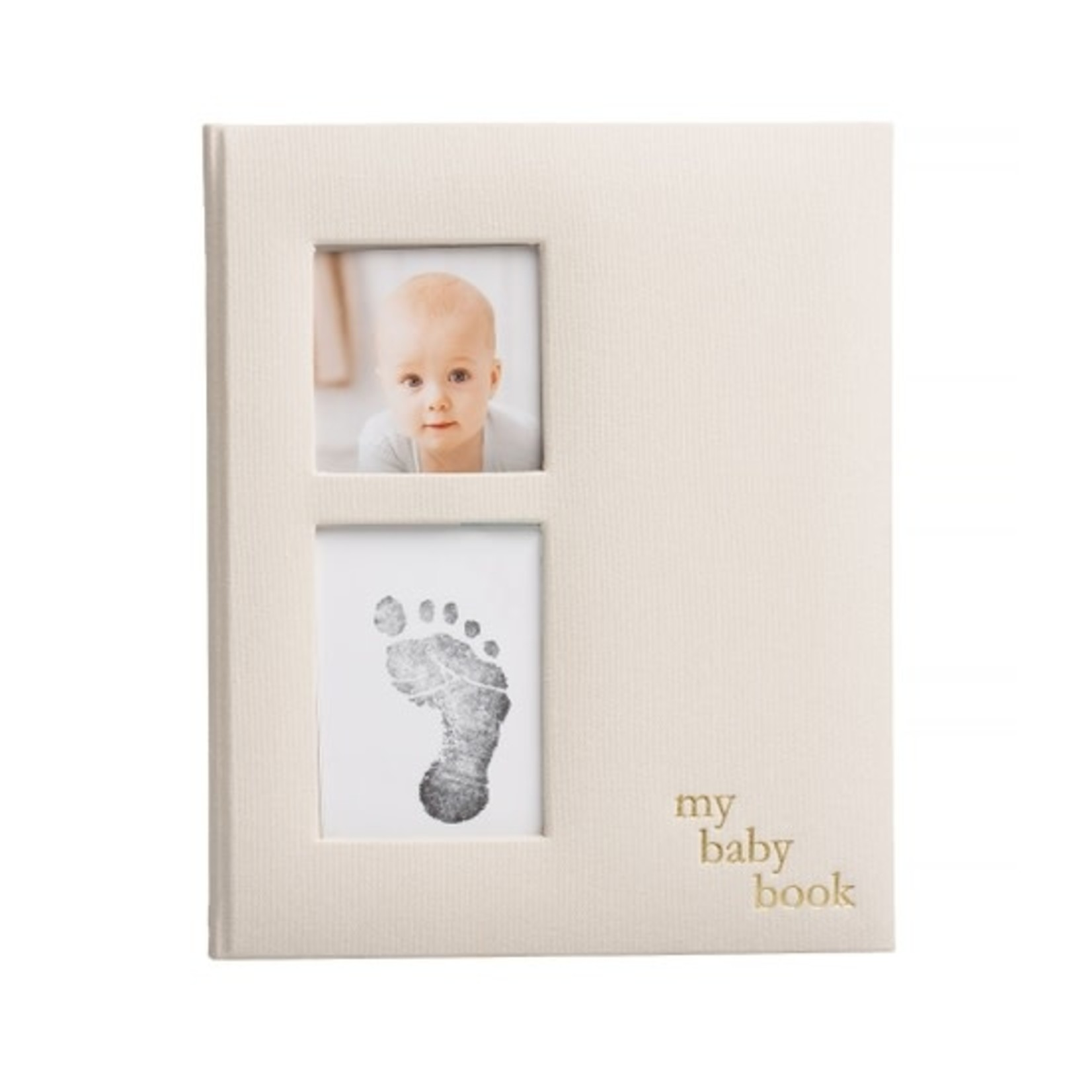 Linen Baby Memory Book and Clean-Touch Ink Pad, Ivory