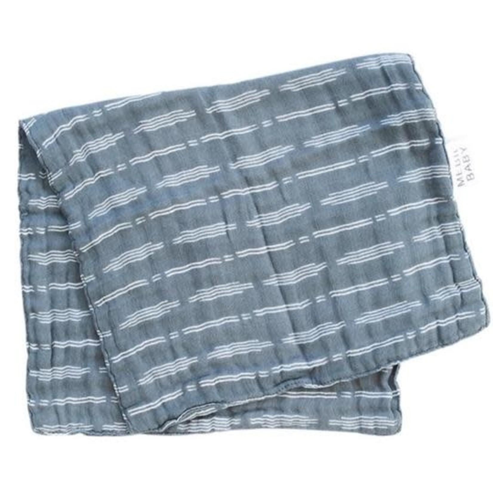 Mebie Baby Burp Cloth - Dusty Blue Horizon