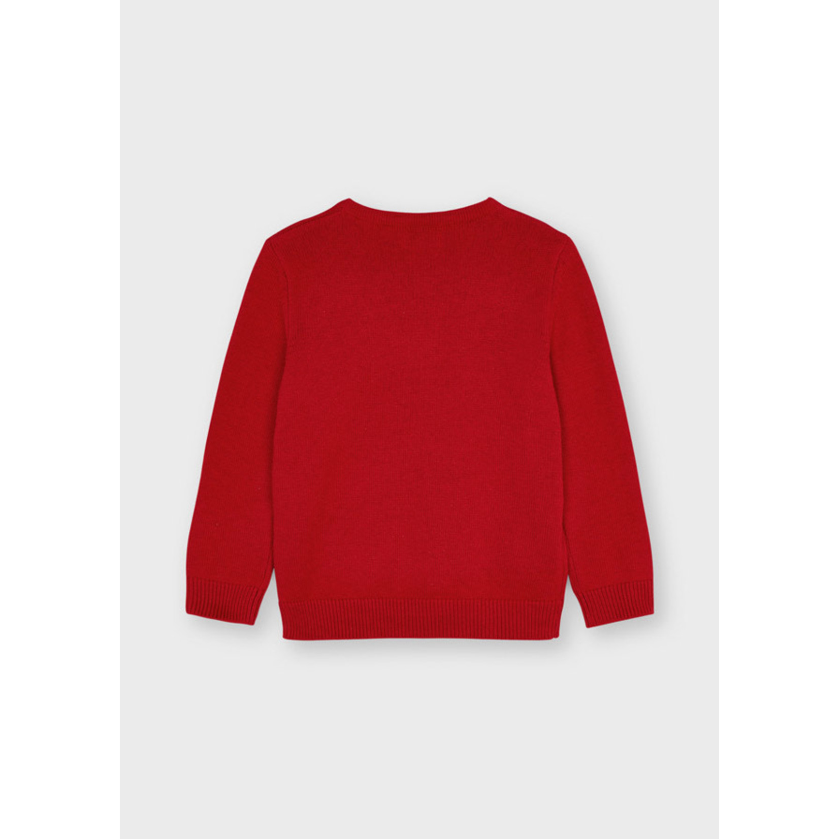Mayoral Basic Crew Neck Sweater, Red Mix