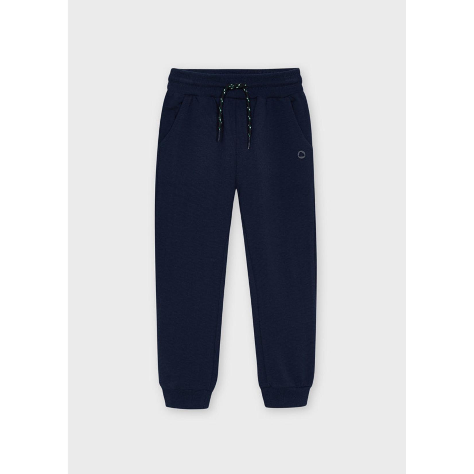 Mayoral Basic Cuffed Fleece Trousers, Navy