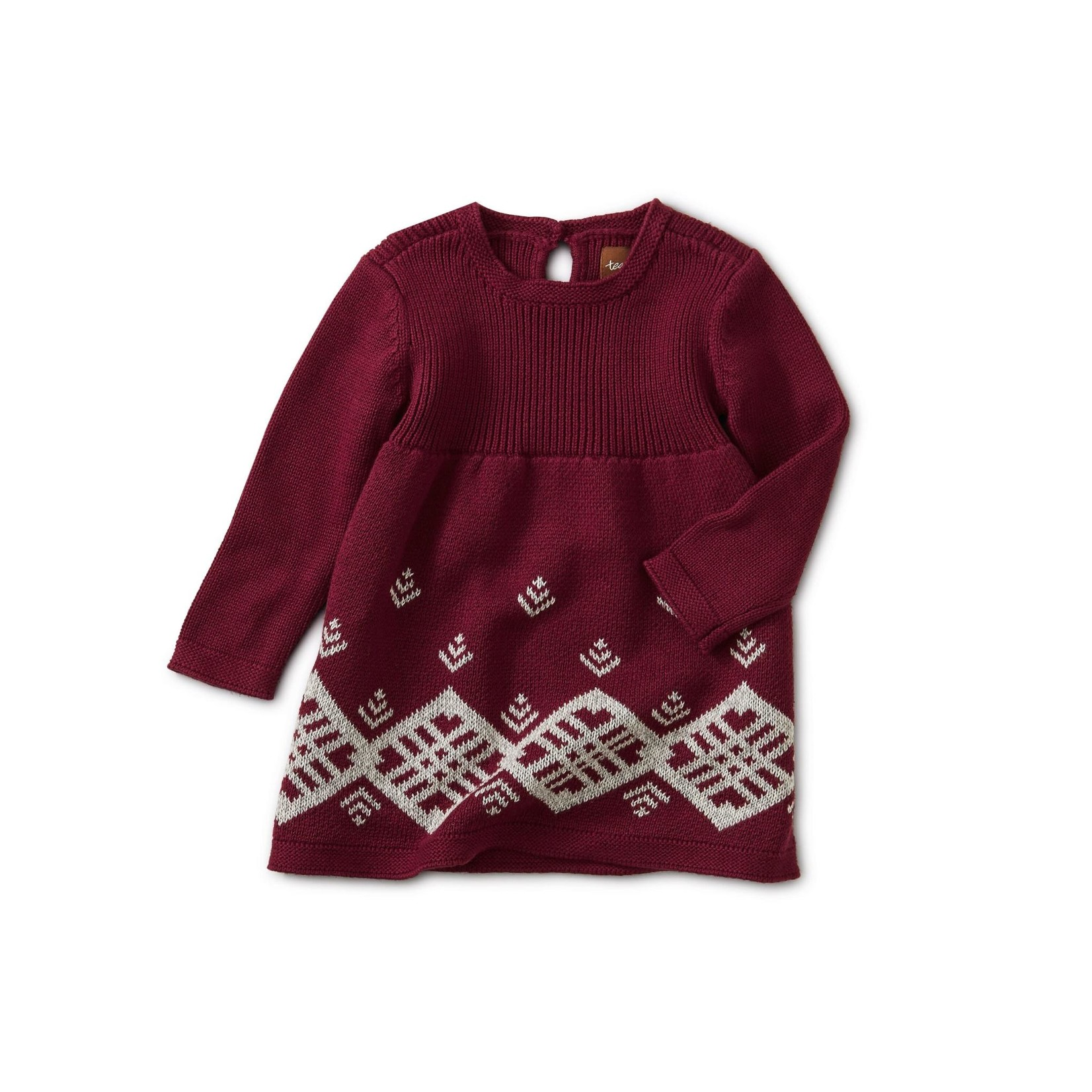 Tea Collection Chimmi Choden Family Sweater Dress - Deep Cherry  4T